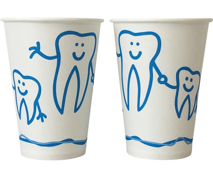 Mundspülbecher Hartpapier mit Zahndesign